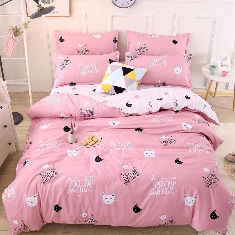 Розовый комплект постельного белья  Кошки (полуторный)