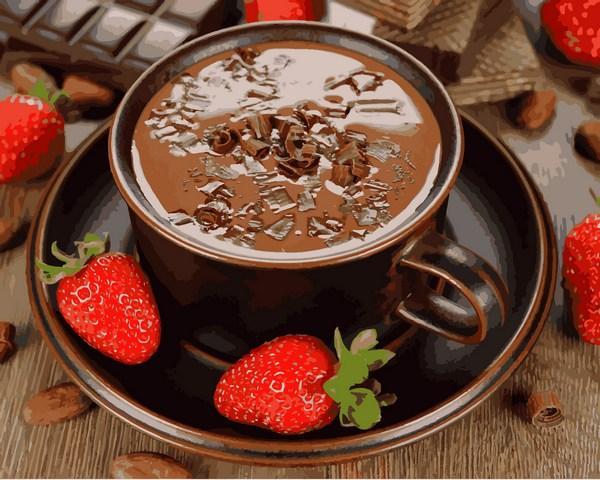 Картины по номерам 40×50 см. Горячий шоколад и клубника