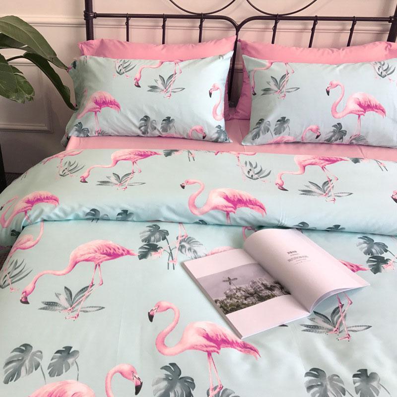 Голубой комплект хлопкового постельного белья Розовые фламинго (полуторный)