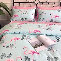 Голубой комплект хлопкового постельного белья Розовые фламинго (полуторный), фото 1