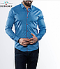 Чоловіча сорочка на кнопках, блакитна