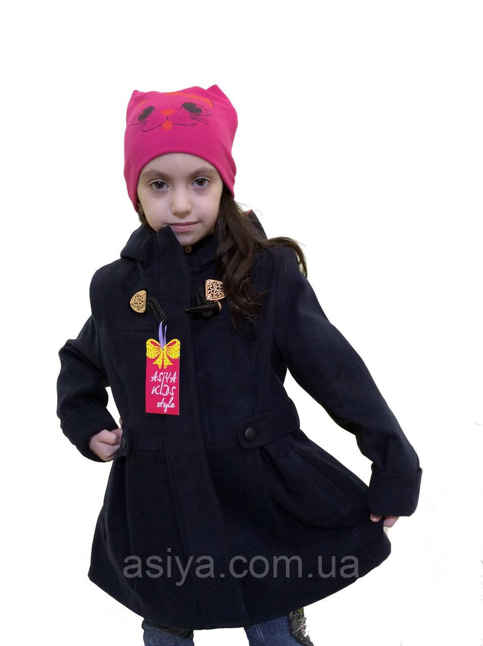 """Синее кашемировое пальто для девочки - """"Оксфорд"""""""