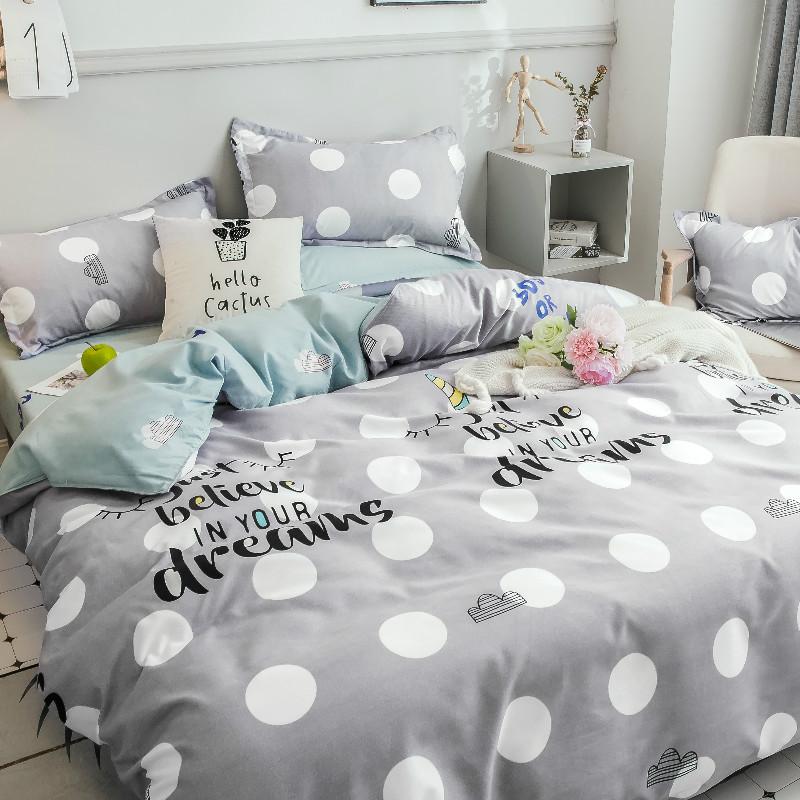 Серый комплект постельного белья в горошек (двуспальный-евро)