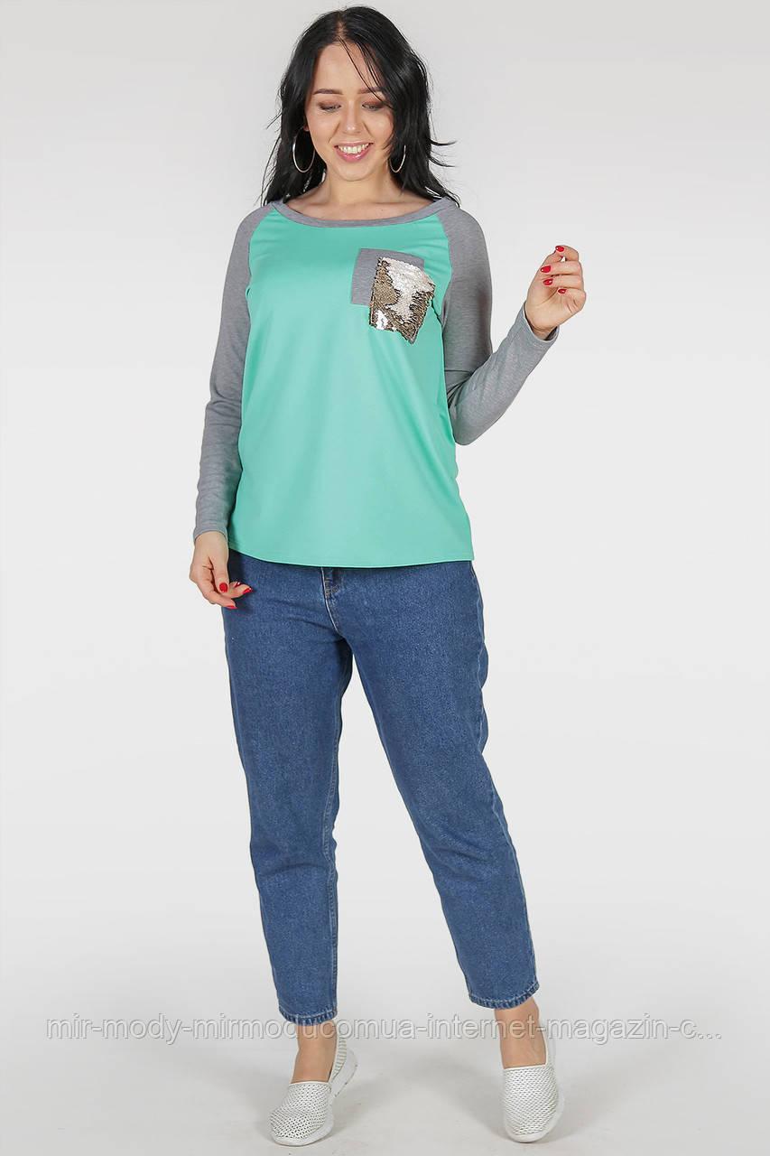 Батальный свитшот мятного цвета с 48 по 62 размер(2 цвета)(wln)