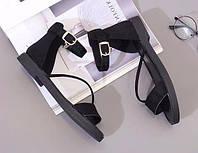 Сандали черные женские с боковым ремешком, фото 1