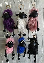 Хутряний брелок весела овечка з натурального хутра (Баранчик Шон)