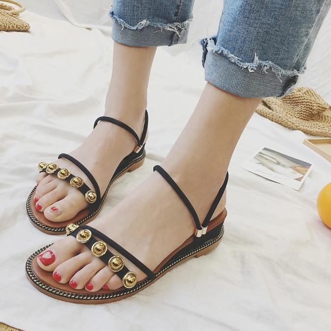 Женские черные сандали - тапочки дешевые