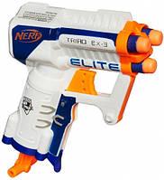 Бластер Elite Triad EX-3 Nerf три ствола стреляющие по очереди перезарядка рычагом в рукояти в коробке