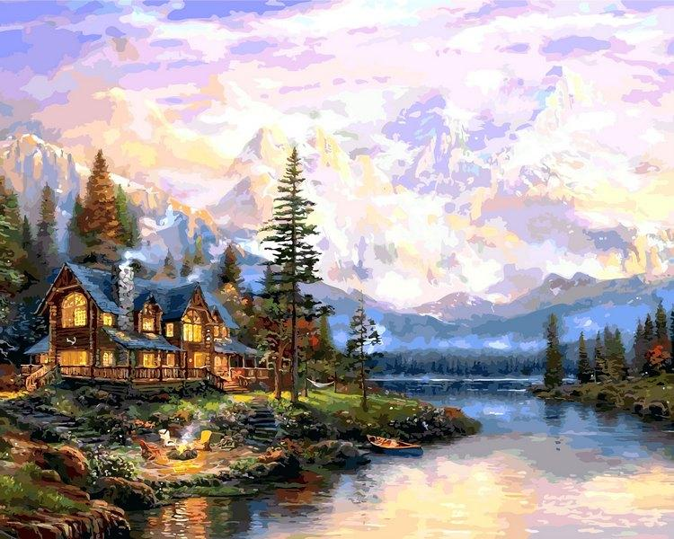 Картины раскраски по номерам 50×65 см. Дом в горах Художник Томас Кинкейд