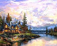Картины раскраски по номерам 50×65 см. Дом в горах Художник Томас Кинкейд, фото 1