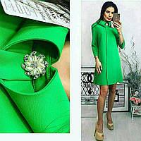 """Платье с брошкой, арт.770, цвет - зеленый """"трава"""""""