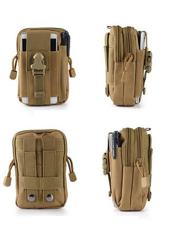 Тактическая универсальная (поясная) сумка - подсумок Mini warrior с системой M.O.L.L.E Coyote (001-coyote), фото 2