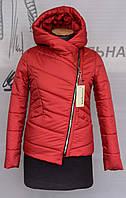 Демисезонная женская куртка с косой молнией.Различные расцветки. Батал и норма.