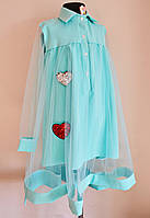 Нарядное платье на девочку 9-14 лет подростковое бирюзового цвета, фото 1