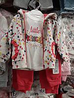 """Костюм с разноцветными сердечками """"little PRINCESS"""" 3 предмета, 9-12-18 месяцев"""