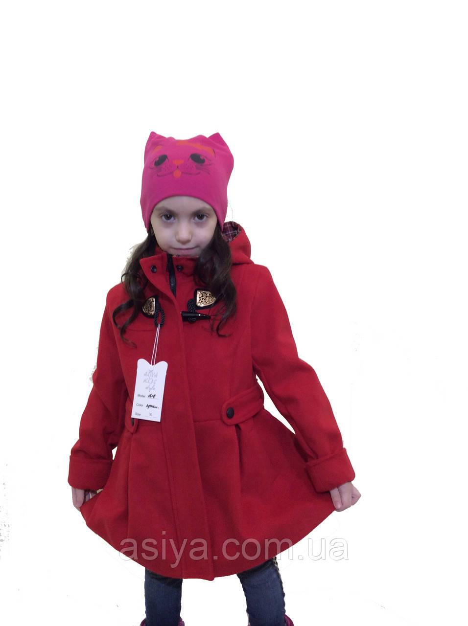 """Красное кашемировое пальто для девочки - """"Оксфорд"""""""