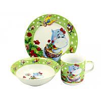 Набор детской посуды 3 предмета Бегемотик  С 069
