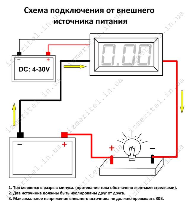 Схема подключения Цифровой амперметр DC 10A