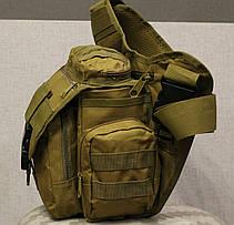 Сумка плечевая универсальная большая тактическая и туристическая сумка Coyote (860-coyote), фото 2