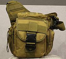 Сумка плечевая универсальная большая тактическая и туристическая сумка Coyote (860-coyote), фото 3