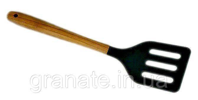 Лопатка силиконовая с деревянной ручкой 310х75 мм