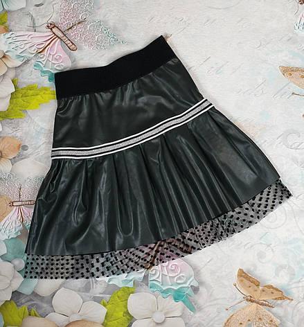 Юбка из кожзам в складку для девочки р.122-146 черный, фото 2