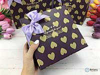 Коробка подарочная упаковка для подарка картонная с бантиком в сердечки оригинальный декор витрины магазина