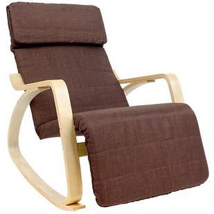 Кресло качалка Lusso Imaggio для отдыха с подставкой для ног коричневый