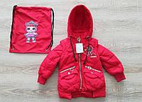 Детская куртка весна-осень девочка удлиненная 20-28 красный