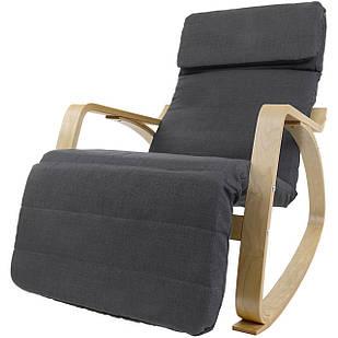 Кресло качалка Vecotti Oskar для отдыха с подставкой для ног темно-серый