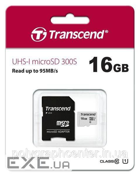 Карта памяти Transcend 16Gb microSDHC class 10 + SD адаптер