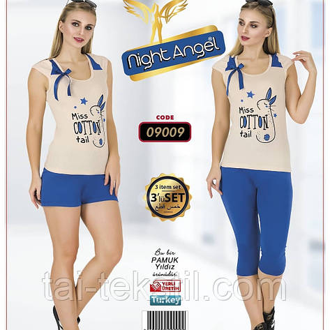 Комплект 3-ка футболка с лосинами + шорты качество лайкра Night Аngel № 09009, фото 2