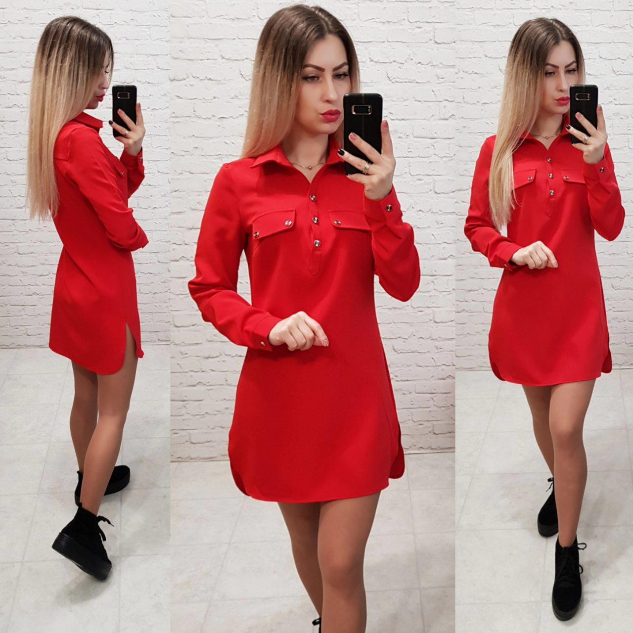 Платье - рубашка арт. 825 красное / красный