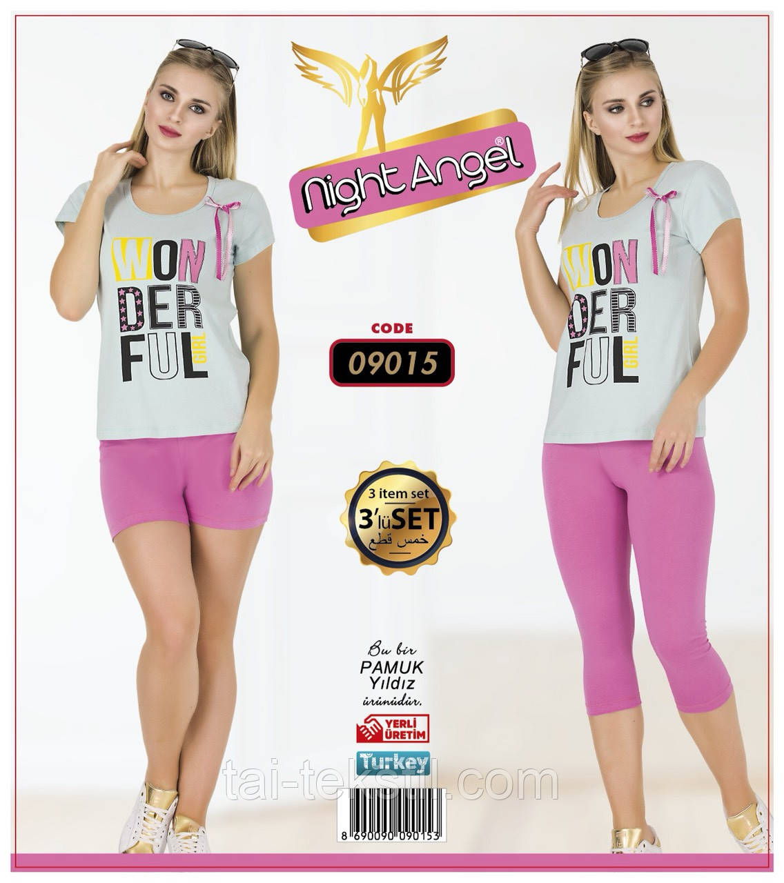 Комплект 3-ка футболка с лосинами + шорты качество лайкра Night Аngel № 09015