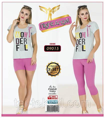 Комплект 3-ка футболка с лосинами + шорты качество лайкра Night Аngel № 09015, фото 2