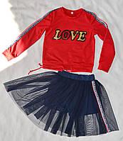 Детский костюм кофта и юбка-шорты оптом 122-146, фото 1