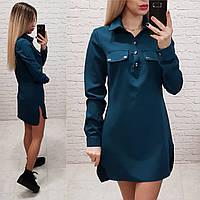 Платье - рубашка арт. 825 морская волна, фото 1