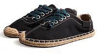 Летние черные эспадрильи на шнуровке, фото 1
