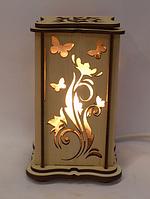 """Соляная лампа, ночник, светильник деревянный """"Бабочки и цветы малый"""""""