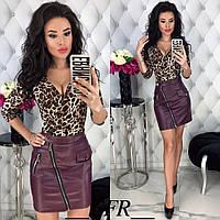 Женская модная юбка кожзам, фото 1