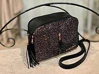 Женская сумка MICHAEL KORS черная с декором из глиттера/хамелион, графит,черный, лиловый/
