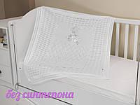 """Ажурный плед """"Аист"""" в коляску, кроватку, на выписку из роддома. Белый"""