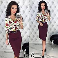 Женский модный костюм юбка с блузой, фото 1