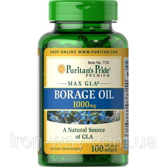 Puritan's Pride Borage Oil 1000mg (MAX GIA) 100 softgels, фото 1