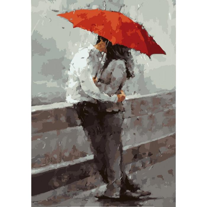 Картина по номерам на холсте Влюбленные под дождем, KHO2647