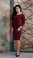 Женское прямое платье с лампасами бордовое размер 44-46, 48-50