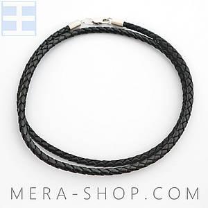Кожаный плетёный шнурок с замком из серебра 925 пробы (чёрный, ⌀4 мм, все размеры)