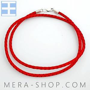 Кожаный плетёный шнурок с замком из серебра 925 пробы (красный, ⌀4 мм, все размеры)