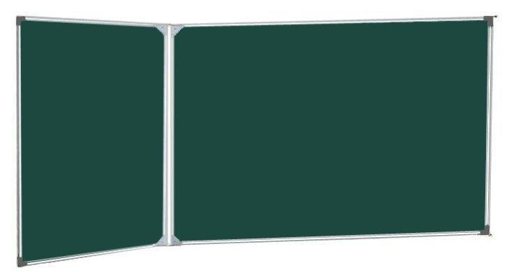 Дошка шкільна магнітна крейдяна 100х300 див., 3 робочих поверхонь комбі UkrBoards UB100x300G-3