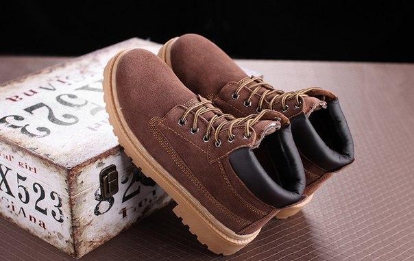 Коричневые ботинки мужские